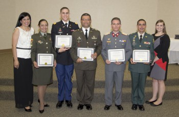 Photo showing officers from Fort Benning who graduated the ESL program