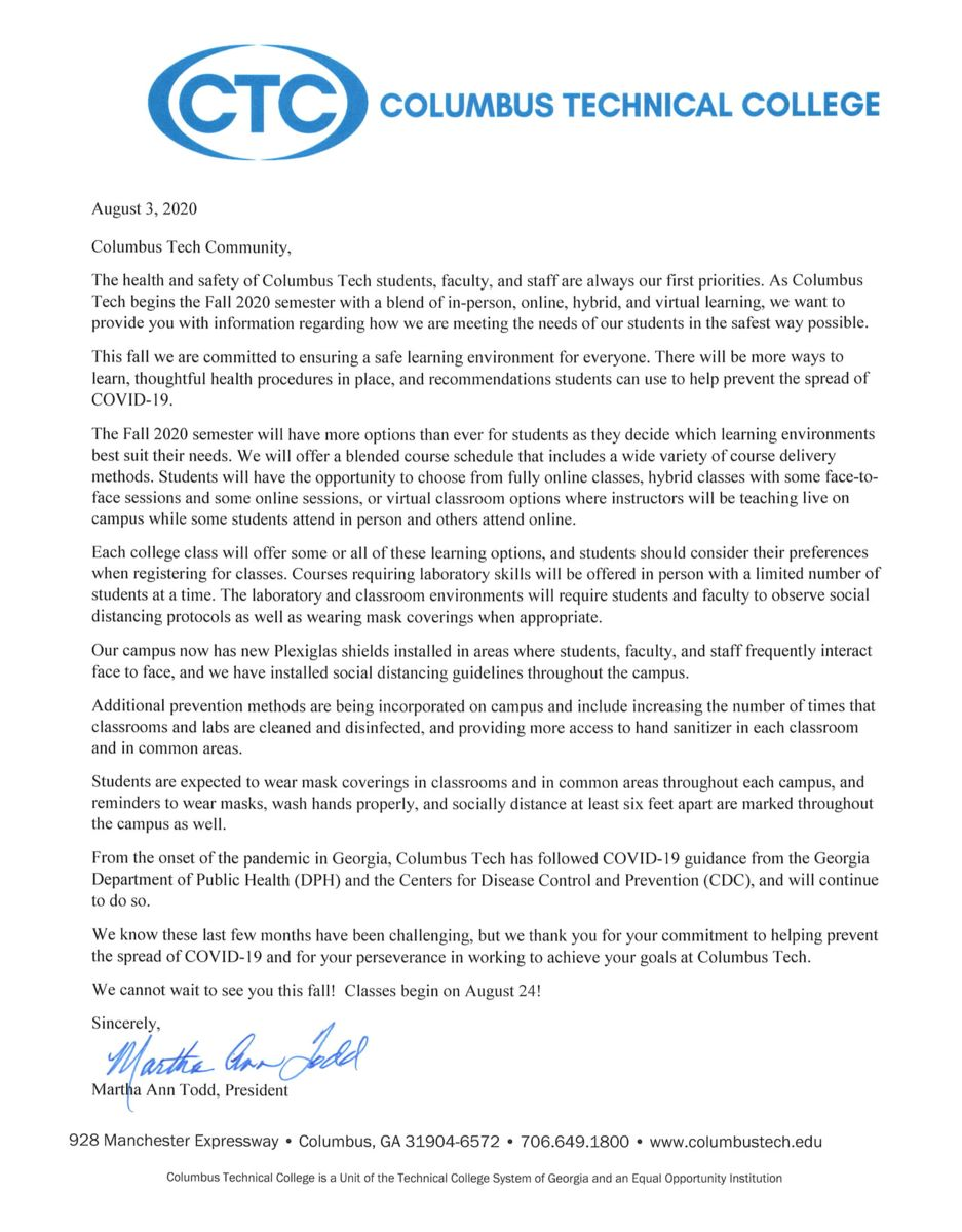 August 3 letter from Martha Ann Todd re- returning to campus in fall 2020