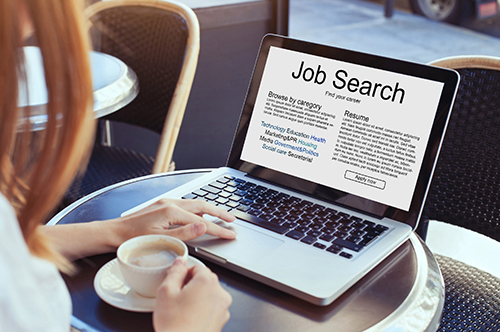 Job Searching on laptop