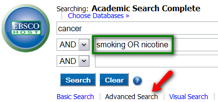 EBSCO Advanced Search interface