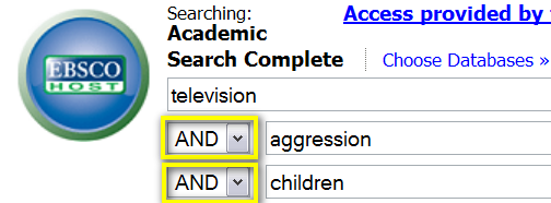 Example of simple Boolean search in the EBSCO database interface.
